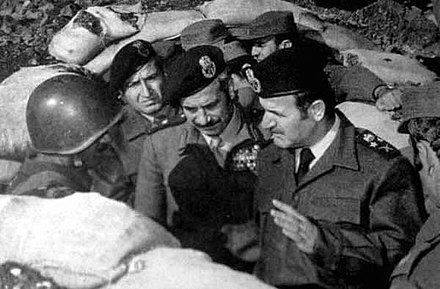 President Hafez al-Assad (right) with soldiers, 1973 Assad Tlass war 1973.jpg
