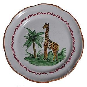 Zarafa (giraffe) - Commemorative faience plate