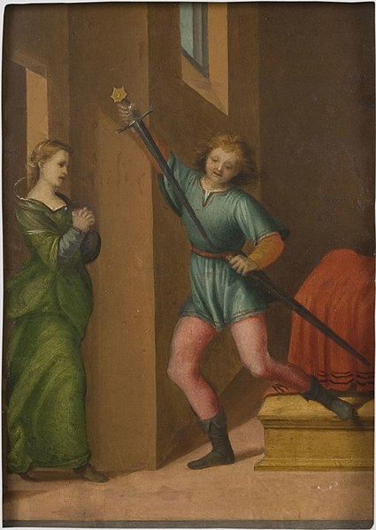 File:Attributed to Franciabigio, Saint Julian the Hospitaller Meeting his Wife after Killing his Parents.jpg