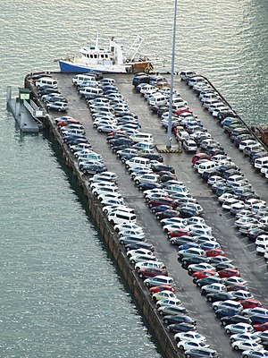 Ports of Auckland - Newly imported cars waiting to be inspected at one of the car yards.