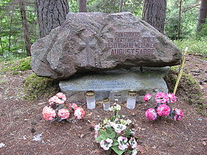 August Sabbe - August Sabbe's death place monument, near river Võhandu, Paidra, Estonia, 2008, Estonian inscription:  Here on 28 September 1978 fell  the last Estonian soldier of Forest Brothers  August Sabbe