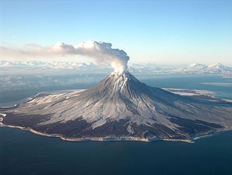 Augustine Volcano - A gas plume arising during its eruptive phase 2005-06