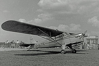 Auster Autocar - The prototype J/5B Autocar of Airviews Ltd at Manchester Airport in 1950