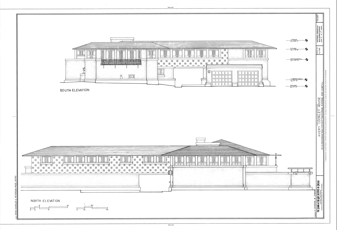 Elevation Plan Photo : File avery coonley house scottswood road
