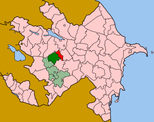 Tartar District - Map of Azerbaijan showing Tartar (red and dark green) rayon. The dark green is under control of the NKR.