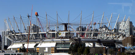 Renovation works at BC Place, including the construction of the retractable roof, viewed in April 2011 BCPlaceRoofApril2011.jpg