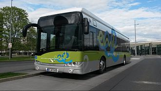 Battery electric bus - Solaris Urbino 12 electric from Braunschweiger Verkehrs-GmbH (Germany) at the front of the station, inductive charging station