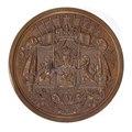 Baksida av bronsmedalj med det belgiska riksvapnet - Skoklosters slott - 98990.tif