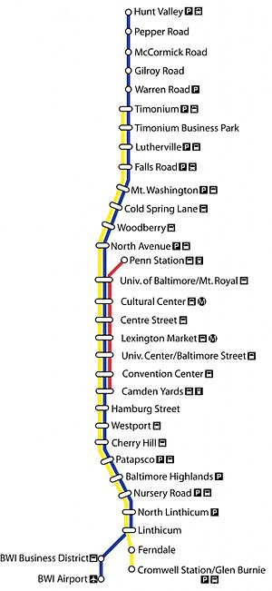 Light RailLink - Map of the Baltimore Light Rail showing the typical routes used