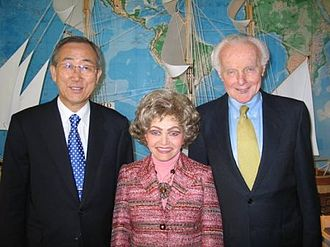 Tom Lantos - United Nations Secretary General Ban Ki-Moon with Tom and Annette Lantos