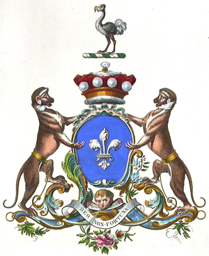 """Baron Digby - Coat of arms of the Barons Digby. Motto: Deo Non Fortuna, """"from God, not chance"""""""