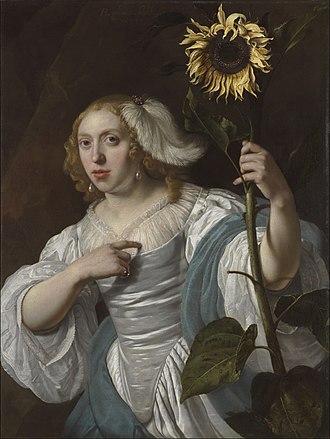 Bartholomeus van der Helst - A young woman holding a sunflower