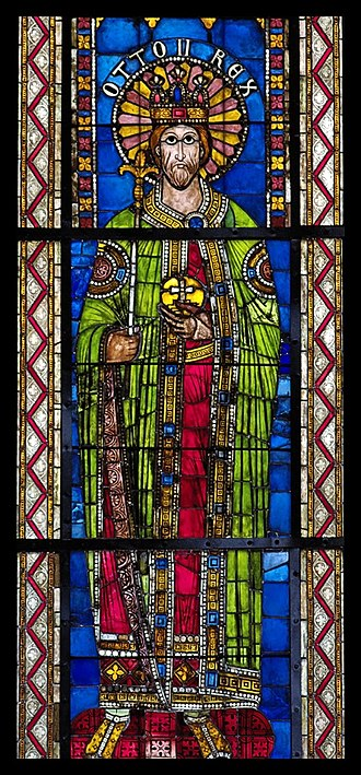 Otto II, Holy Roman Emperor - Otto II, from a series of Holy Roman emperors (12th and 13th centuries); the panels are now set into Gothic windows, Strasbourg Cathedral