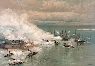 "Union blockade - ""The Battle of Mobile Bay"" by Louis Prang"
