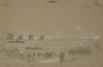 Battle of Hatteras Inlet Batteries - Capture of the Forts at Cape Hatteras inlet Alfred R. Waud, artist, August 28, 1861.
