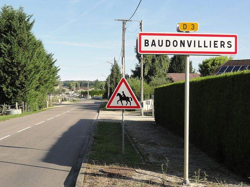 Baudonvilliers (Meuse) city limit sign