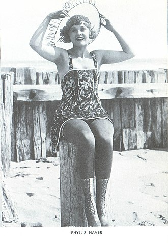 """Phyllis Haver - Phyllis Haver as a """"beach beauty"""", photographed by Mack Sennett in 1917."""