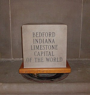 "Indiana Limestone - Exhibit at the Indiana State House touting Bedford, Indiana as the ""Limestone Capital of the World""."