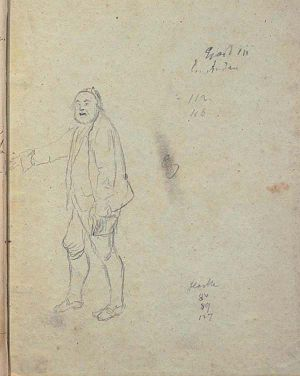 The Feast at Solhaug - Sketch from inside the rear cover of the prompter's script from 1855, which probably shows the householder Bengt Gauteson drawn by the playwright himself, Henrik Ibsen.