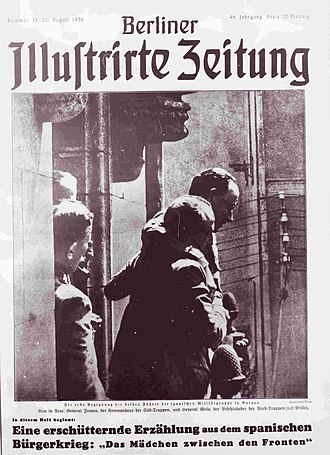Photojournalism - The Berliner Illustrirte Zeitung pioneered modern photojournalism and was widely copied. Pictured, the cover of issue of 26 August 1936: a meeting between Francisco Franco and Emilio Mola.