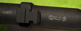 Proof test - Airsoft gun with German F proof mark and sign from the Firearms Testing Commission Suhl