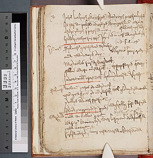 Bewnans Ke - A page from Beunans Meriasek (National Library of Wales, MS Peniarth 105B, folio 56v)