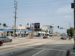 The intersection at the center of the studio zone: West Beverly Blvd and North La Cienega Blvd in Los Angeles