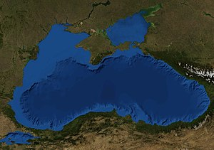 Black Sea undersea river - Illustration of the Black Sea, from NASA's World Wind globe software. The Bosphorus Strait can be seen at lower left.