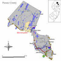 Map of Bloomingdale in Passaic County. Inset: Location of Passaic County highlighted in the State of New Jersey.