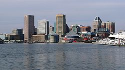 View of the Baltimore Skyline from the city's Inner Harbor