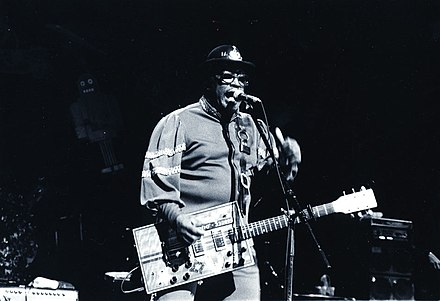 "Bo Diddley's ""Bo Diddley beat"" is a clave-based motif. Bo-Diddley.jpg"