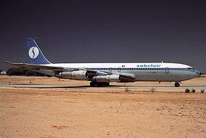Sobelair - One of Sobelair's Boeing 707s at Faro Airport in 1989.