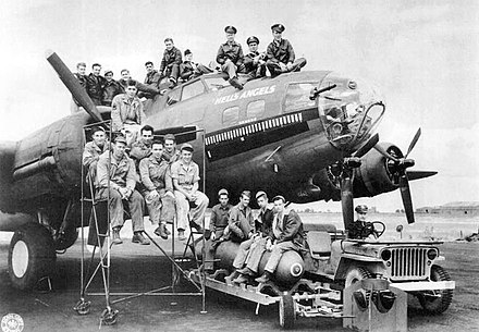 This B-17F, tail number 41-24577, was named Hell's Angels after the 1930 Howard Hughes movie about World War I fighter pilots. Boeing B-17F-25-BO Fortress 42-24577 Hells Angels.jpg