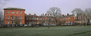 Bootham Park Hospital - Side view of Bootham Park Hospital from Union Terrace.  The pavilion on the left is an end-on view of Carr's original building.