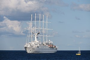 Motorsailer - The Club Med 2 augments its diesel-electric power with  seven computer-operated sails.