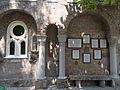Bory Castle. Front Garden. 'Speak stones' description (seven languages) and arches, pillars, columns, statues, windows. - 54, Máriavölgy Rd., Öreghegy, Székesfehérvár, Fejér county, Hungary.JPG