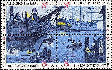 In 1973 the US Post Office issued a set of four stamps, together making one scene of the Boston Tea Party Boston Tea Party-1973 issue-3c.jpg