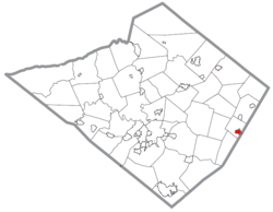 Location of Boyertown in Berks County, Pennsylvania.