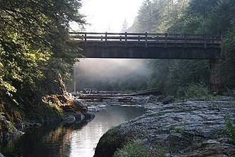Washougal River - Flowing under a bridge