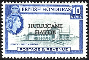 Hurricane Hattie - Image: British Honduras 1962 Hurricane Hattie stamp