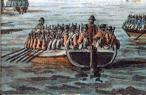 Battle of Long Island - British troops in the type of flat-bottomed boat used for the invasion of Long Island. Hessians in their blue uniforms are in the two boats that are only partly visible.