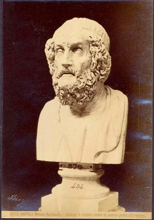 Brogi, Giacomo (1822-1881) - 5113 - Napoli, Museo nazionale. Omero. il miglior busto di questo poeta (Ercolano)