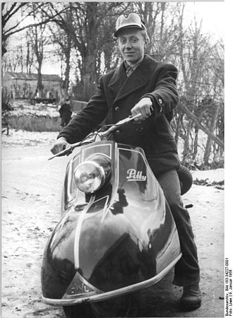 Industriewerke Ludwigsfelde - A farmer on an IWL Pitty scooter near Rostock in Mecklenburg in January 1956.
