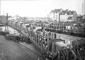 World War I reparations - Trains loaded with machinery deliver their cargo in 1920 as reparation payment in kind.