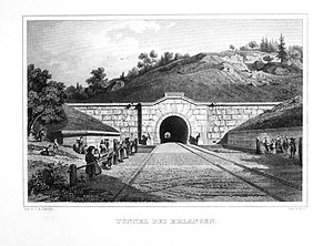 Ludwig South-North Railway - The railway tunnel at Erlangen recorded by Carl August Lebschée