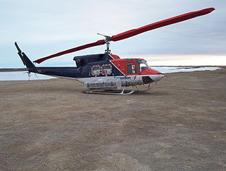 Canadian Helicopters - Bell 212 (C-FOKV) registered to Canadian Helicopters at Cambridge Bay Airport, Nunavut, Canada