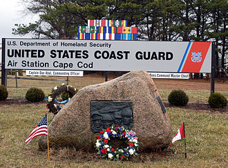 Coast Guard Air Station Cape Cod - A memorial to those who lost their lives in the accident, erected in 1980 at the entrance to Coast Guard Air Station Cape Cod in Sandwich, Massachusetts.