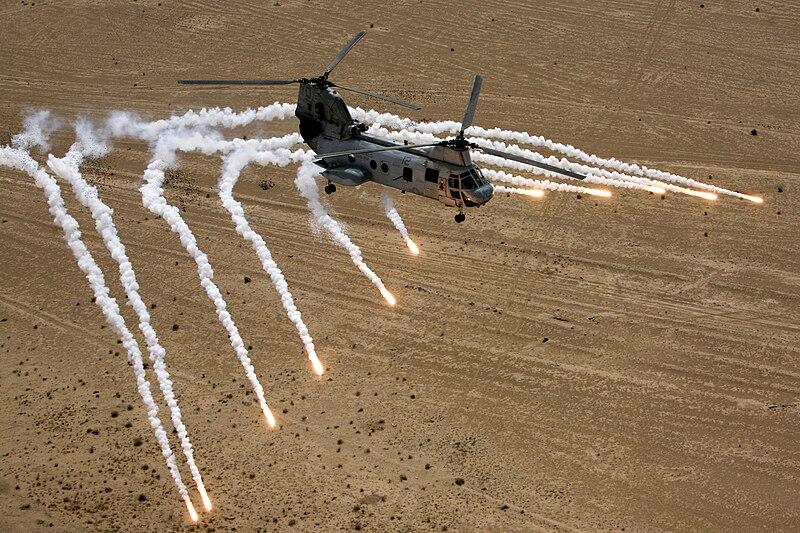 File:CH-46 Sea Knight; Flares.jpg