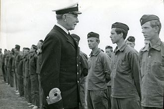 Helge Strömbäck - Vice Admiral Strömbäck inspects the Swedish Naval Volunteers' cadet school at Dalarö Fortress circa 1950.