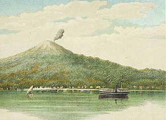 Ternate - Colonial-era painting of Ternate island, ca. 1883-1889.